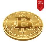 Bitcoin moneta fisica isometrica del pezzo 3D Valuta di Digital Bitcoin dorato isolato su fondo bianco Illustrazione di riserva d Fotografia Stock Libera da Diritti