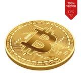 Bitcoin moneta fisica isometrica del pezzo 3D Valuta di Digital Bitcoin dorato isolato su fondo bianco Illustrazione di riserva d Immagine Stock Libera da Diritti