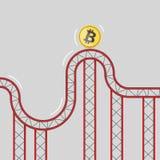 Bitcoin moneta na kolejce górskiej 3d ilustracja wektor