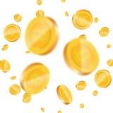 Bitcoin Monete di oro realistiche con il segno di cryptocurrency di Bitcoin Fondo di Bitcoin Immagini Stock