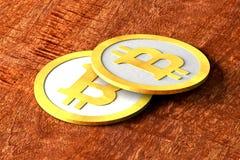 Bitcoin, monete sulla Tabella Immagini Stock