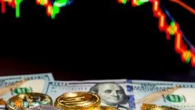 Bitcoin monety z globalną handel wymiany ceną rynkową sporządzają mapę w tle zdjęcie wideo