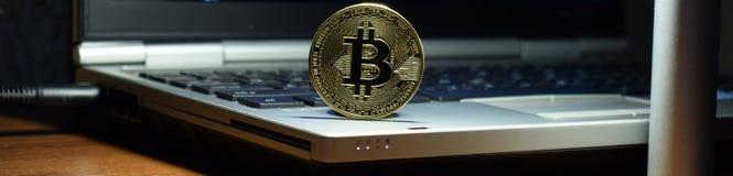 Bitcoin money for a computer laptop, digital money royalty free stock photos