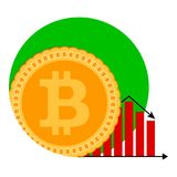 Bitcoin money diagram falling icon. Vector recession loss, decline infochart bit coin illustration Royalty Free Stock Photography