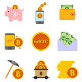 Bitcoin and Money Financial Related Vector Illustration Graphic Icon Set. Design Royalty Free Stock Image