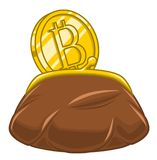 Bitcoin and money purse. Isolated on white background Stock Photo