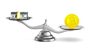 Bitcoin and money on scale. Isolated 3D illustration Royalty Free Stock Photo