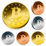 Bitcoin money set in gold, silver and bronze Royalty Free Stock Photos
