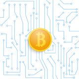 Bitcoin on the motherboard. Royalty Free Stock Images