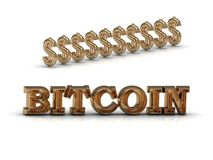 BITCOIN mycket dollar och guld- symbolsaffär arkivbild