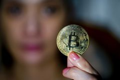 Bitcoin mynt Fotografering för Bildbyråer
