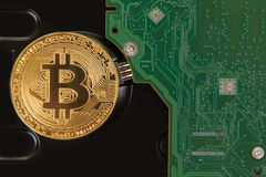 Bitcoin mynt med HDD Royaltyfri Bild