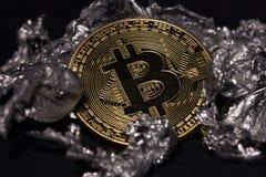 Bitcoin myntnärbild royaltyfria bilder