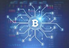Bitcoin nätverk, blå bakgrund Arkivfoton