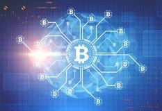 Bitcoin nätverk, en planet, blå bakgrund Arkivfoton