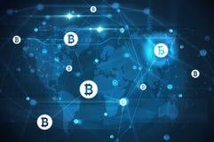 Bitcoin nätverk med världskartan royaltyfri illustrationer