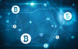 Bitcoin nätverk på blå bakgrund Royaltyfria Bilder