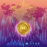 Bitcoin na moeda digital do cryptocurrency da olá!-tecnologia com fundo financeiro das técnicas da criptografia Fotografia de Stock Royalty Free