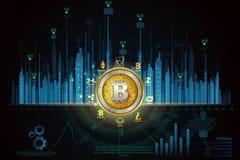 Bitcoin na moeda digital do cryptocurrency da olá!-tecnologia com fundo financeiro das técnicas da criptografia Imagem de Stock