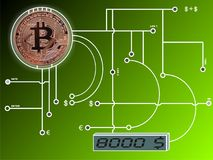 Bitcoin na placa de circuito imagem de stock royalty free