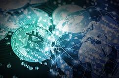 Bitcoin na technologia obwodu deski tle Obrazy Royalty Free