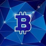 Bitcoin na trójboka tle Obrazy Royalty Free