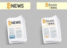 Bitcoin-Nachrichtensatz Lizenzfreie Stockfotografie