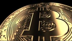 Bitcoin - naher hoher Schuss - übertragene Animation stock video