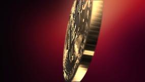 Bitcoin - naher hoher Schuss - übertragene Animation stock footage