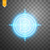 Bitcoin with neon blue target on the transparent background with light. Vector Stock Photos