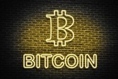 Bitcoin neon wall sign Royalty Free Stock Photography