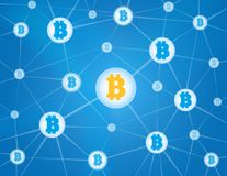 Bitcoin network blue background Royalty Free Stock Image
