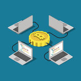 Bitcoin network connection online mining flat vector isometric. Bitcoin network connection online mining flat 3d isometry isometric concept web infographics Royalty Free Stock Image