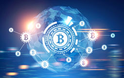 Bitcoin network, HUD, world map, blurred blue Royalty Free Stock Photography