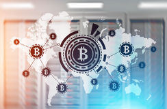 Bitcoin network, HUD, world map, server room Stock Photo
