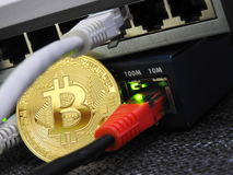 Bitcoin and network. Switch connection stock images