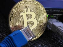 Bitcoin and network Royalty Free Stock Photos