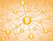 Bitcoin network yellow  background Stock Photo