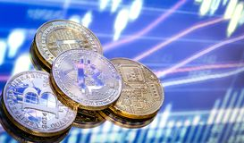 Bitcoin is a new concept of virtual money, the graphics and digi. Tal background. Coins with the image of the letter B. a Conceptual image of the world of Royalty Free Stock Images