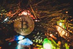Bitcoin and new year Royalty Free Stock Photo