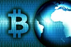 Bitcoin news background modern illustration. Blue illustration stock illustration