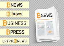 Bitcoin news logo set. Bitcoin blockchain news logo set collection. Mining internet currency press. Financial business crypto electronic currency. Modern and Stock Images