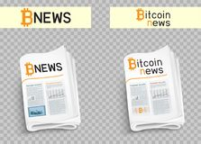 Bitcoin news set. Bitcoin blockchain news logo set. Mining internet currency press. Financial business crypto electronic currency. Modern and future internet Royalty Free Stock Photography