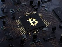 Bitcoin no cartão-matriz ilustração stock