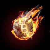 Bitcoin no fogo Fotos de Stock Royalty Free