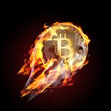 Bitcoin no fogo Fotos de Stock Royalty Free