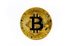 Bitcoin no fundo branco foto de stock royalty free