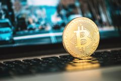 Bitcoin, notebook, Bitcoin concept, business background, cryptocurrency, blockchain royalty free stock photography