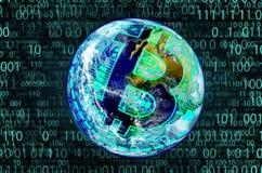 Bitcoin, o conceito de uma moeda cripto fotos de stock