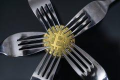 Bitcoin obtenant le nouveau changement dur de fourchette, pièce de monnaie d'or physique de Crytocurrency sous des fourchettes photo stock